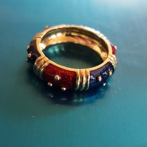 Hidalgo 18k Yellow Gold Ring Red/Blue 8g Size 6.5